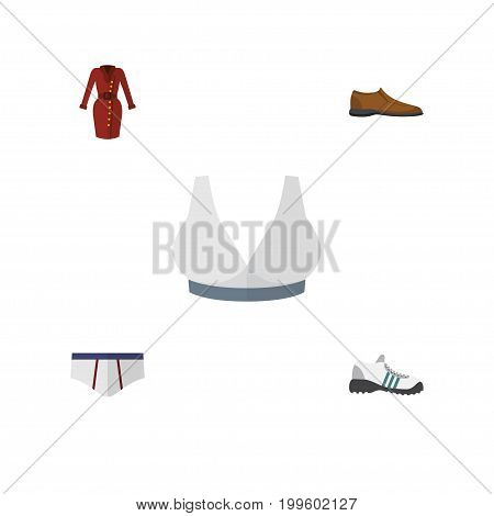 Flat Icon Dress Set Of Sneakers, Underclothes, Male Footware And Other Vector Objects