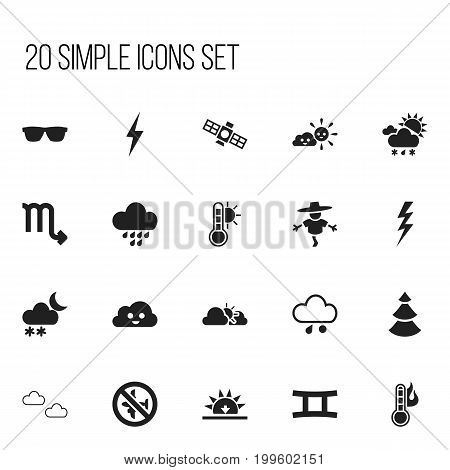 Set Of 20 Editable Climate Icons. Includes Symbols Such As Eyeglasses, Sunset, Sputnik And More