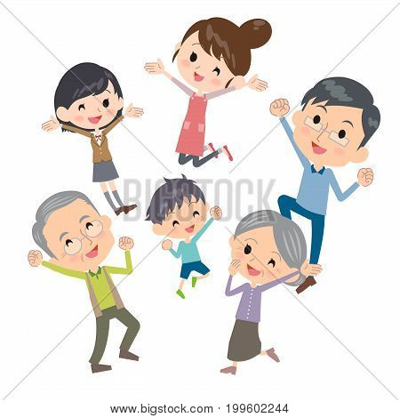 family three generations gather jump cute design illustration