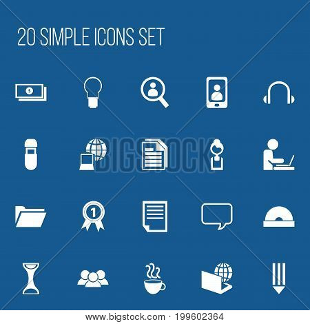 Set Of 20 Editable Office Icons. Includes Symbols Such As File, Group, Telephone And More