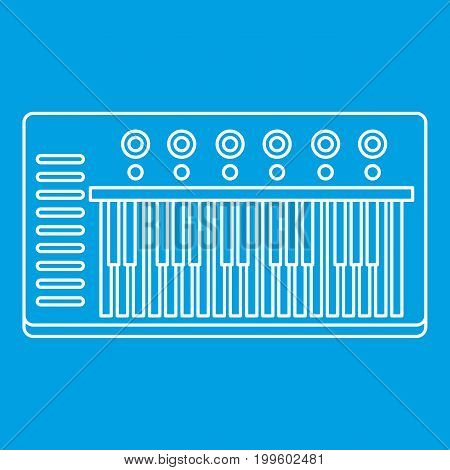Music synthesizer icon blue outline style isolated vector illustration. Thin line sign