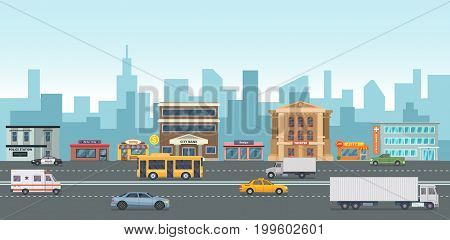 Urban landscape with modern buildings and market places. Different cars on the street. Vector illustrations in cartoon style. Street urban city with road and exterior bank and pizza