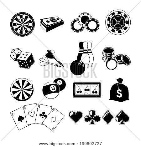 Gambling, card games, and different casino entertainments. Monochrome illustrations set. Vector silhouettes casino and poker game symbol, play and fortune