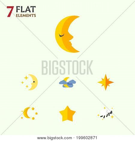 Flat Icon Midnight Set Of Bedtime, Moon, Midnight And Other Vector Objects