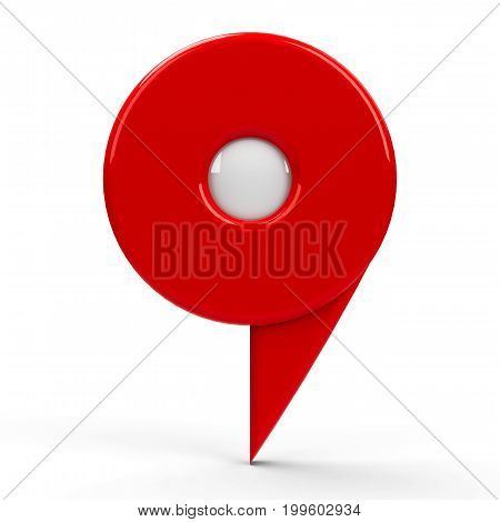 Red map pointer with blank center isolated on white background three-dimensional rendering 3D illustration