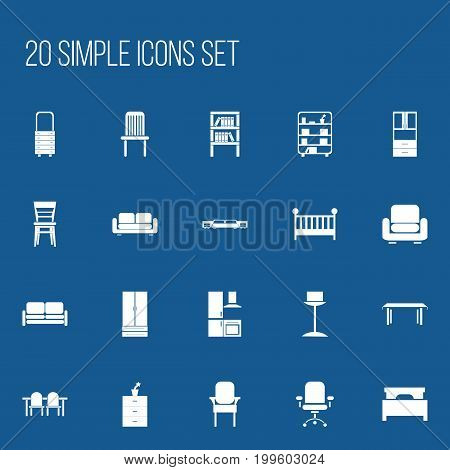 Set Of 20 Editable Interior Icons. Includes Symbols Such As Trestle, Restaurant Table, Divan And More