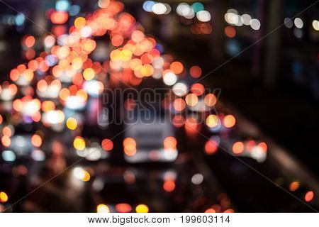 Blurred background traffic jam in night time