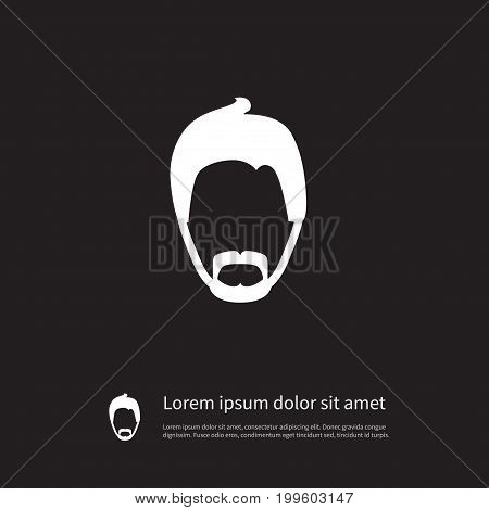 Mister Vector Element Can Be Used For Moustache, Gentleman, Mister Design Concept.  Isolated Modern Gentleman Icon.