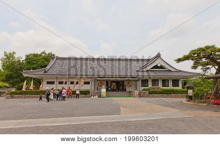 OKAZAKI JAPAN - MAY 31 2017: Ieyasu and Mikawa Bushi Museum in Okazaki Castle Japan. Castle was founded in 1455 by Saigo Tsugiyori shogun Tokugawa Ieyasu was born here in 1543