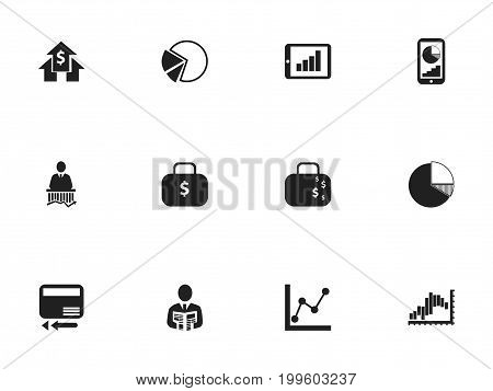 Set Of 12 Editable Analytics Icons. Includes Symbols Such As Circle Diagram, Phone Statistics, Money Bag And More