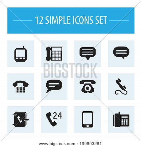 Set Of 12 Editable Gadget Icons. Includes Symbols Such As Comment, Phone, Calling Device And More