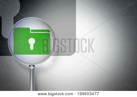Finance concept: magnifying optical glass with Folder With Keyhole icon on digital background, empty copyspace for card, text, advertising, 3D rendering