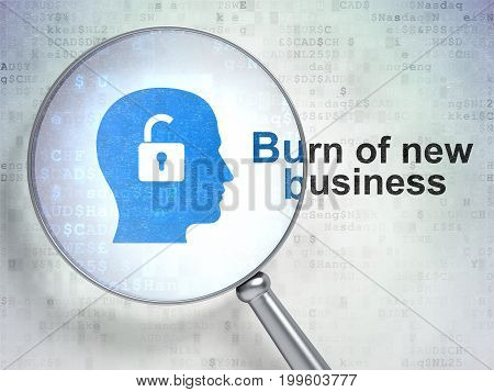 Finance concept: magnifying optical glass with Head With Padlock icon and Burn Of new Business word on digital background, 3D rendering
