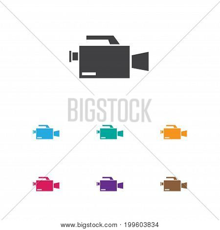 Vector Illustration Of Filming Symbol On Camcorder Icon