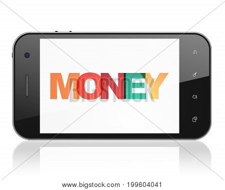 Finance concept: Smartphone with Painted multicolor text Money on display, 3D rendering