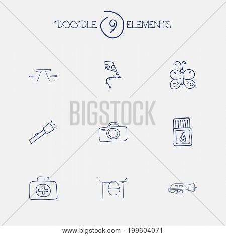 Set Of 9 Editable Trip Doodles. Includes Symbols Such As Photographing, Flashlight, Flammable Stick And More