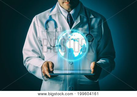 Doctor with stethoscope and tablet computer on black background still life style Technology to treat patients global in world concept.