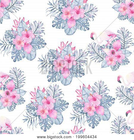Watercolor tropical seamless pattern hand painted with flamingo pink calla hibiscus frangipani heliconia and leaves of indigo palm monstera isolated on white background. Floral illustration. Botanical art