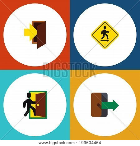 Flat Icon Emergency Set Of Entry, Direction Pointer, Directional And Other Vector Objects