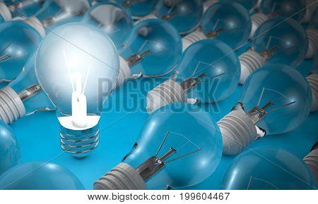Bulb Lights, Creative Idea And Leadership Concept Background