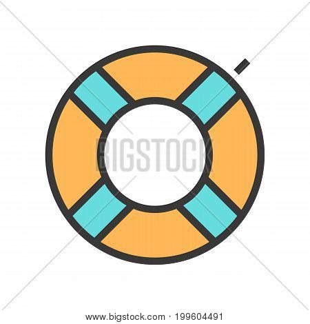 Vector illustration of a swimming circle. Summer, holidays and travel icon.