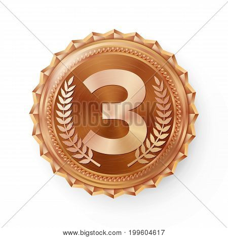 Bronze Medal Vector. Round Championship Label. Competition Challenge Award. Red Ribbon. Isolated On White. Realistic Illustration.