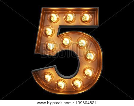 Light Bulb Digit Alphabet Character 5 Five Font