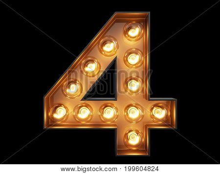 Light Bulb Digit Alphabet Character 4 Four Font