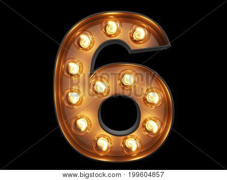 Light Bulb Digit Alphabet Character 6 Six Font