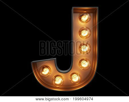 Light Bulb Alphabet Character J Font