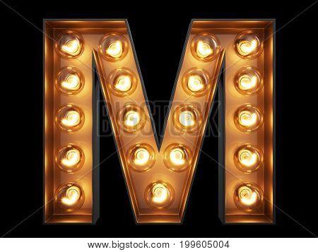 Light Bulb Alphabet Character M Font