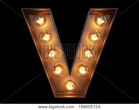 Light Bulb Alphabet Character V Font