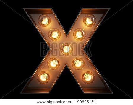 Light Bulb Alphabet Character X Font