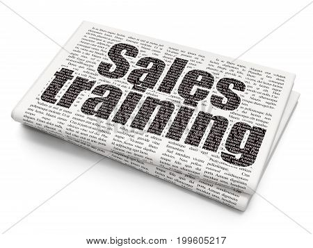 Marketing concept: Pixelated black text Sales Training on Newspaper background, 3D rendering