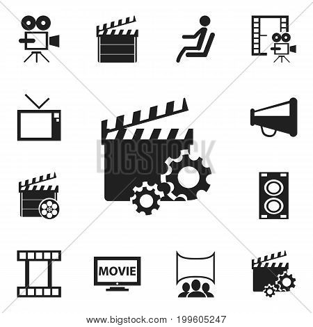 Set Of 12 Editable Cinema Icons. Includes Symbols Such As Record Cam, Retro Television, Megaphone And More