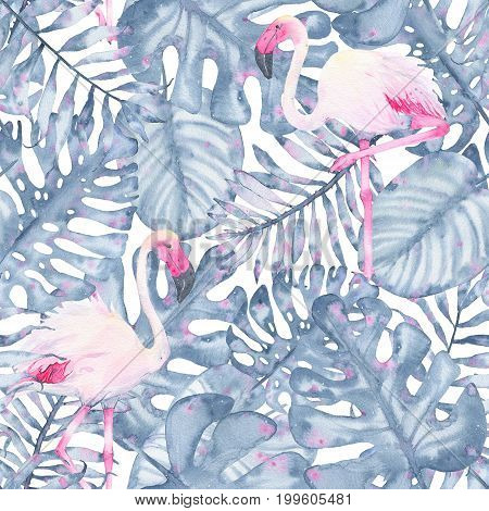 Watercolor tropical seamless pattern hand painted pink flamingo and leaves of indigo palm monstera isolated on white background. Floral illustration. Botanical art