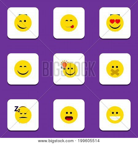 Flat Icon Expression Set Of Love, Winking, Asleep And Other Vector Objects