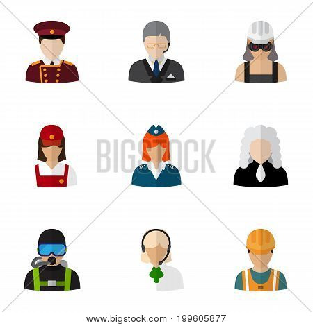Set Of 9 Editable Occupation Flat Icons. Includes Symbols Such As Swimmer, Doorman, Electrician And More