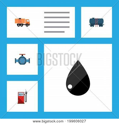 Flat Icon Fuel Set Of Petrol, Van, Flange And Other Vector Objects