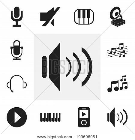 Set Of 12 Editable Melody Icons. Includes Symbols Such As Studio Device, Octave, Musical Sign And More