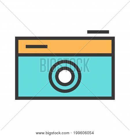 Vector illustration of a camera on white isolated background