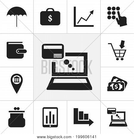 Set Of 12 Editable Investment Icons. Includes Symbols Such As Arrow, Remuneration, Shopping Pushcart And More