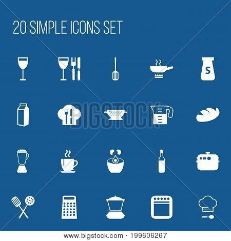 Set Of 20 Editable Cook Icons. Includes Symbols Such As Milk Bottle, Cooking, Stewpot And More