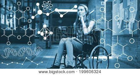 Illustration of chemical formulas against disabled schoolgirl on wheelchair in corridor at school
