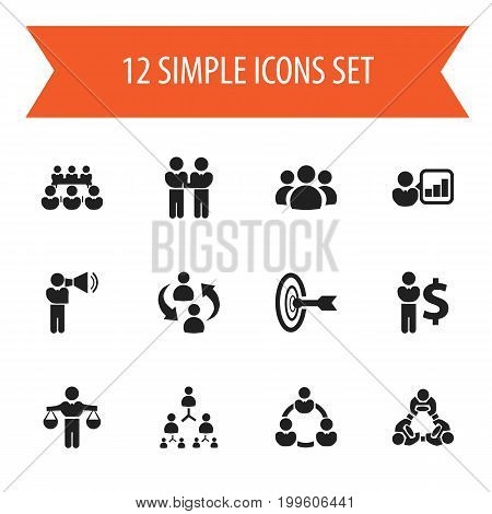 Set Of 12 Editable Community Icons. Includes Symbols Such As Commander, Finding Solution, Hierarchy
