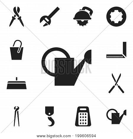 Set Of 12 Editable Apparatus Icons. Includes Symbols Such As Pliers, Garden Scissors, Bailer And More