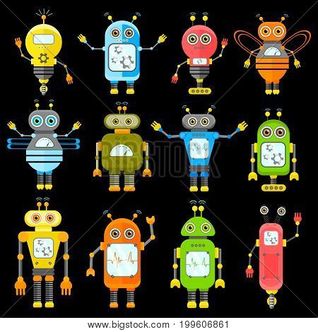 Set of vector robots in cartoon style. Isolated vector robots in black background