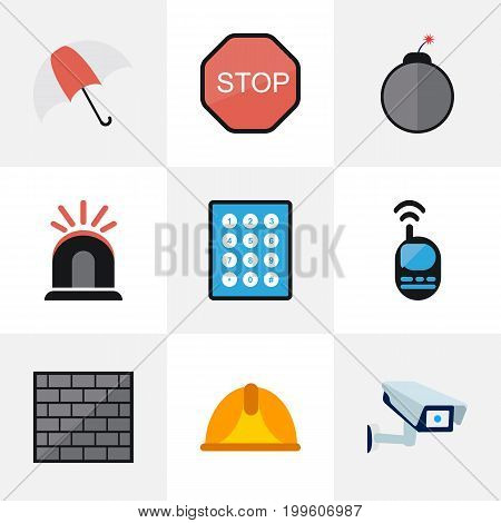 Set Of 9 Editable Security Flat Icons. Includes Symbols Such As Password, Barrier, Talkie And More