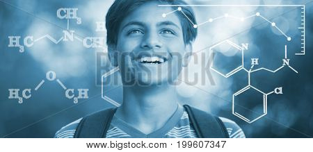 Digital image of chemical formulas against smiling schoolboy standing with schoolbag in campus