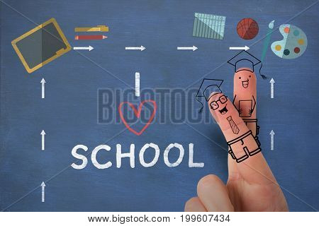 Anthropomorphic smiley faces on fingers over white background against i love school text on white background